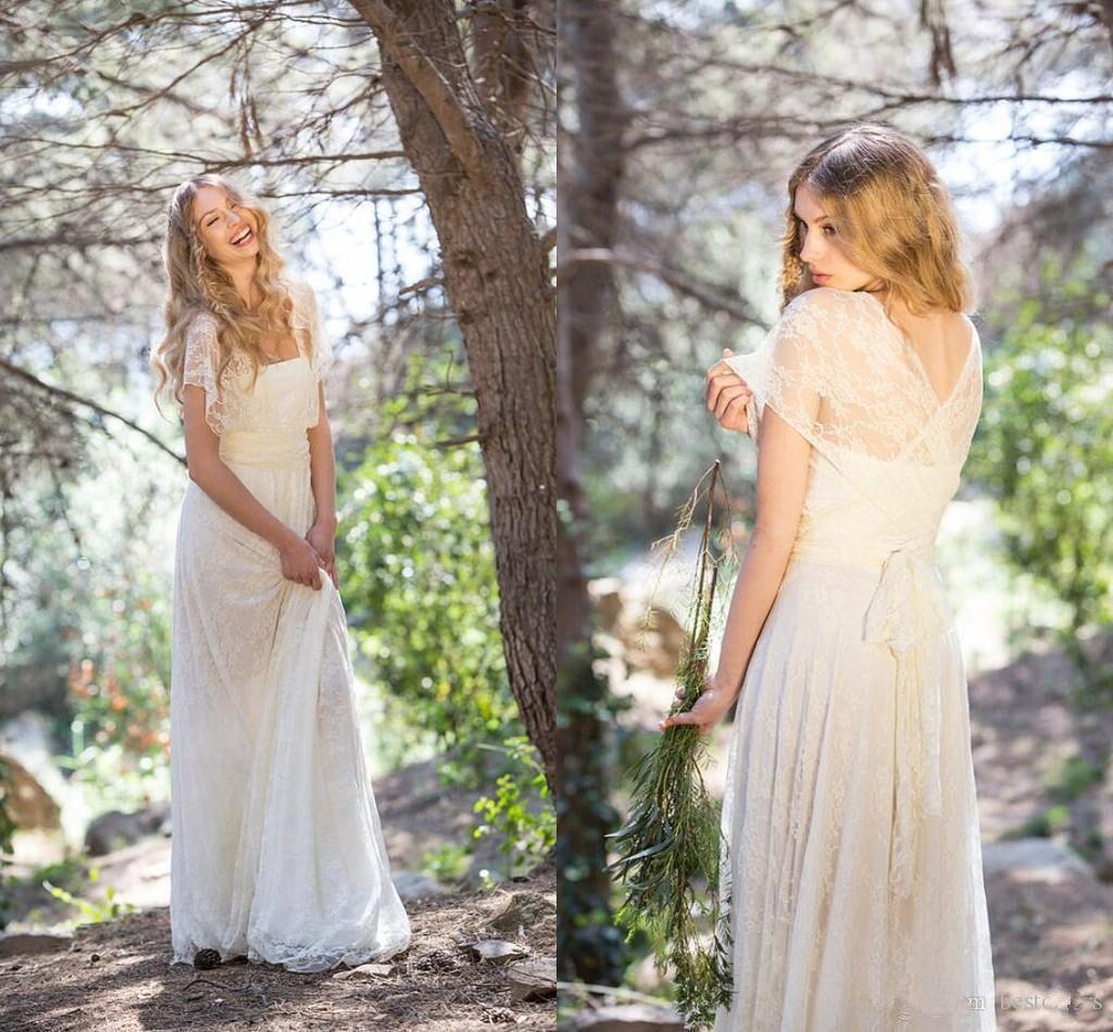 Boho Vintage Lace New Bridal Gown Beach White Wedding Dress Size 4 6 8 10 12 14+