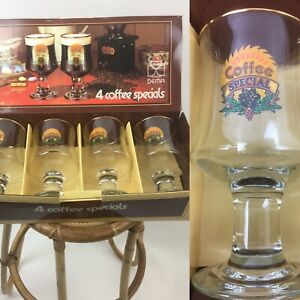Vtg-Boxed-Coffee-Glasses-4-Coffee-Specials-Liquor-Coffee-Recipes-On-Box-By-Dema