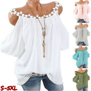 Women Summer Short Sleeve Cold Shoulder Lace Blouse Casual Loose Tunic T Shirt