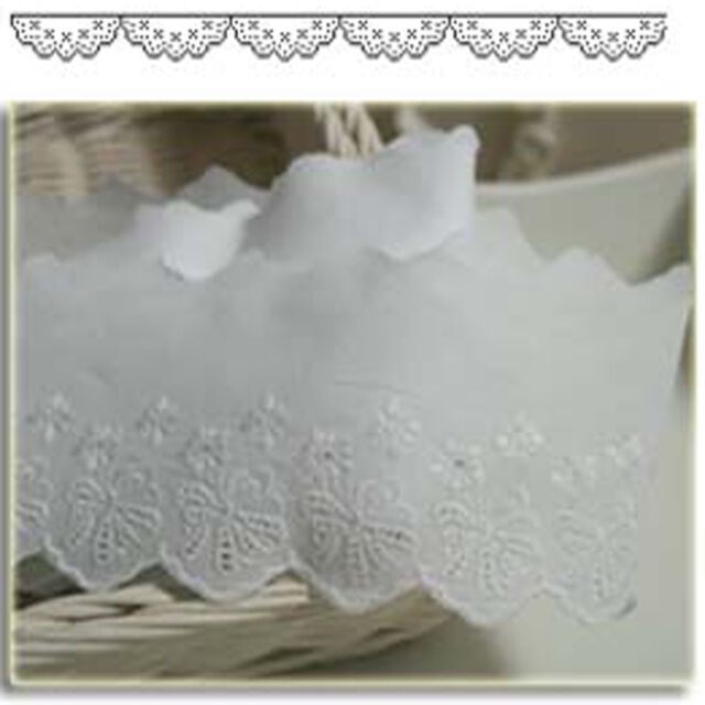 """14Yds Broderie Anglaise Eyelet lace trim 2.8""""(7cm) white YH1346 laceking"""
