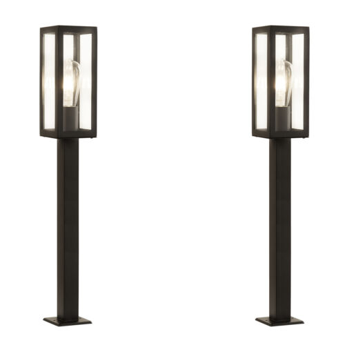 2 x Searchlight 6441900bk Black Finish Rectangle 90cm H Outdoor Post Light IP44