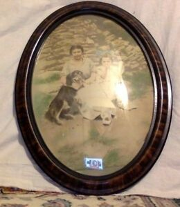 Antique-Victorian-Bubble-Glass-Frame-Antique-Photo-Estimated-Circa-1890-1910