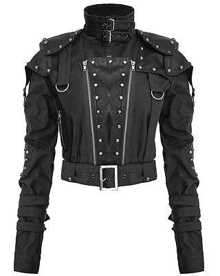 Punk Rave Womens Dieselpunk Jacket Black Goth Dystopian Post Apocalyptic LARP
