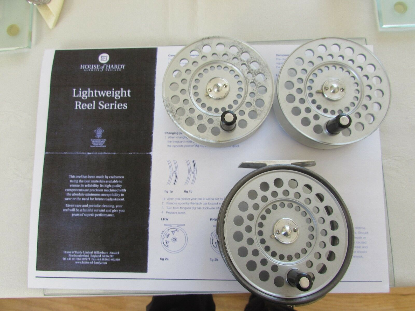 V good early vintage hardy st aidan salmon fly fishing reel + 2 spool  etc