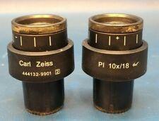 Set Of 2 Carl Zeiss 444132 9901 2 Pl 10x18 Microscope Eyepiece Ocular Lens