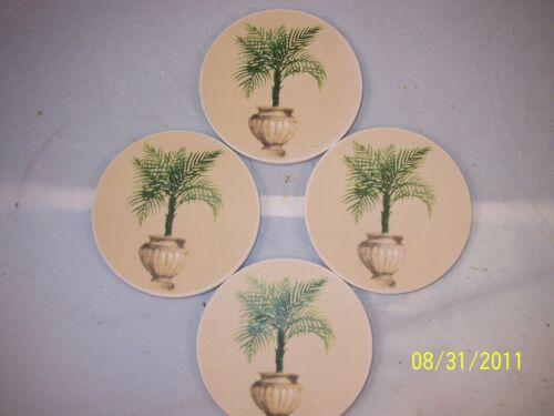 PALM Coasters in Decorative Urn  Pot   ABSORBANT Stone  Set of 4  NIB