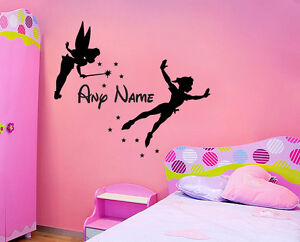 TINKERBELL PETER PAN & NAME WALL STICKER CHILDRENS BEDROOM DECAL ...