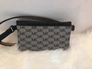 2346906a26f6 MICHAEL KORS Fanny Pack Belt MK Logo Bag 551749C Size S Grey Black ...