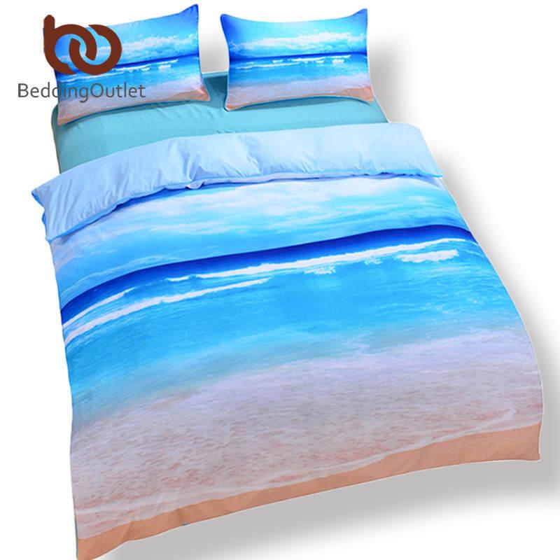 5pcs Bed in a Bag Home Bedding Queen Größe Beach 3d Duvet Cover Set Blau Bed Line
