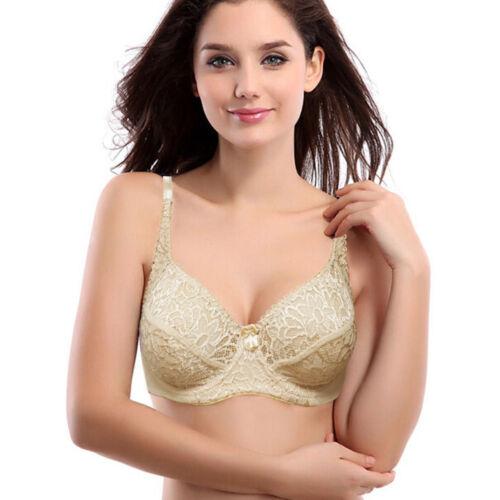Women Lace Brassiere Underwire Bra Underwear Plus Size 32-40 42 44 B C D DD E F