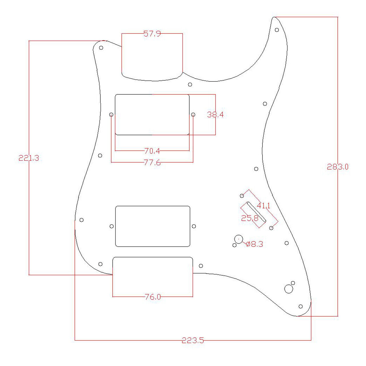 Guitar Loaded Hh Humbucker Pickguard For Fender