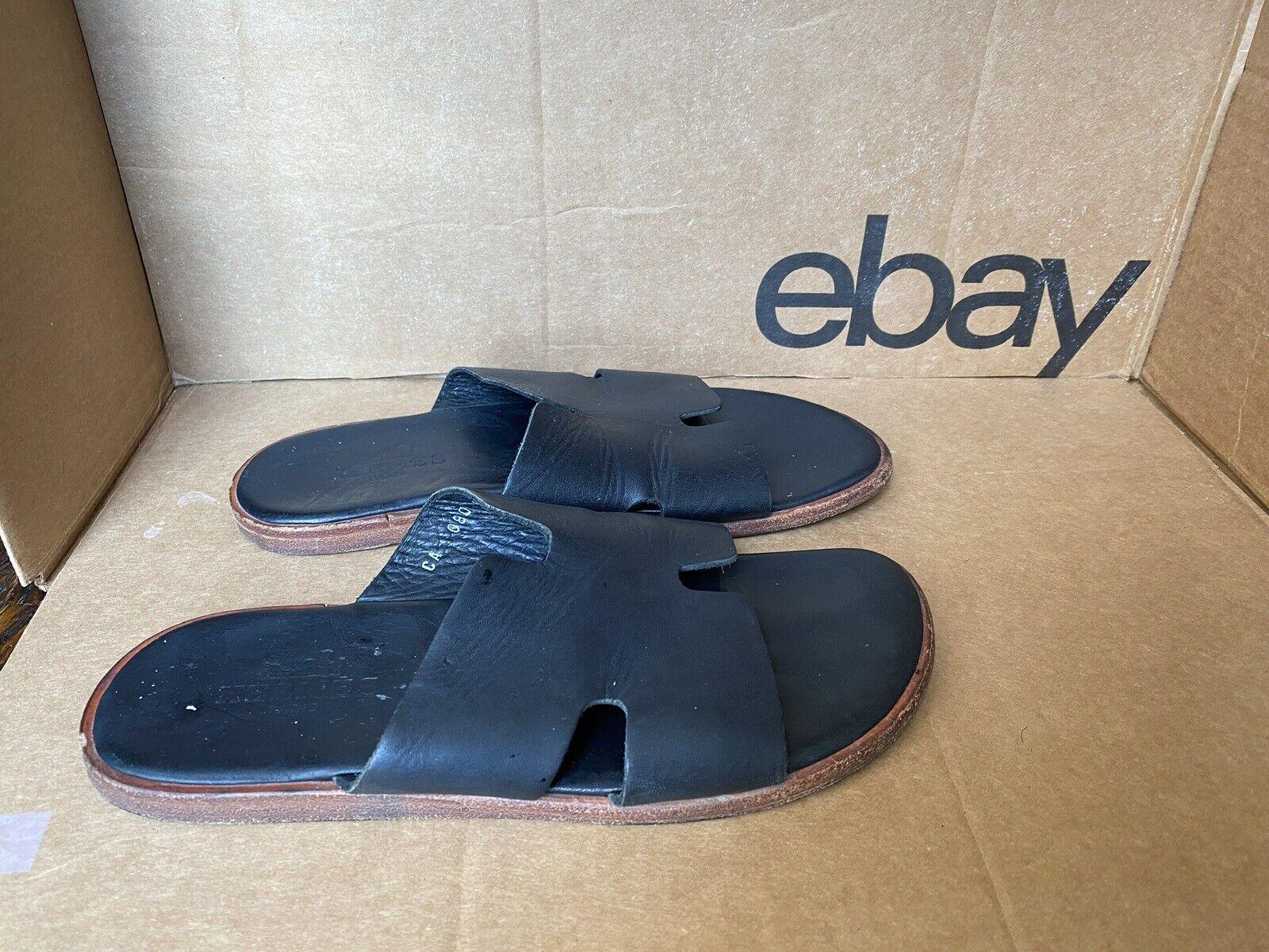 Hermes of Paris Men's Black Leather Sandals/Slide Size EU40 Us 7,5