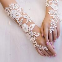 New White Bridal Sexy Lace Flower Rhinestones Fingerless Gloves Wedding Party