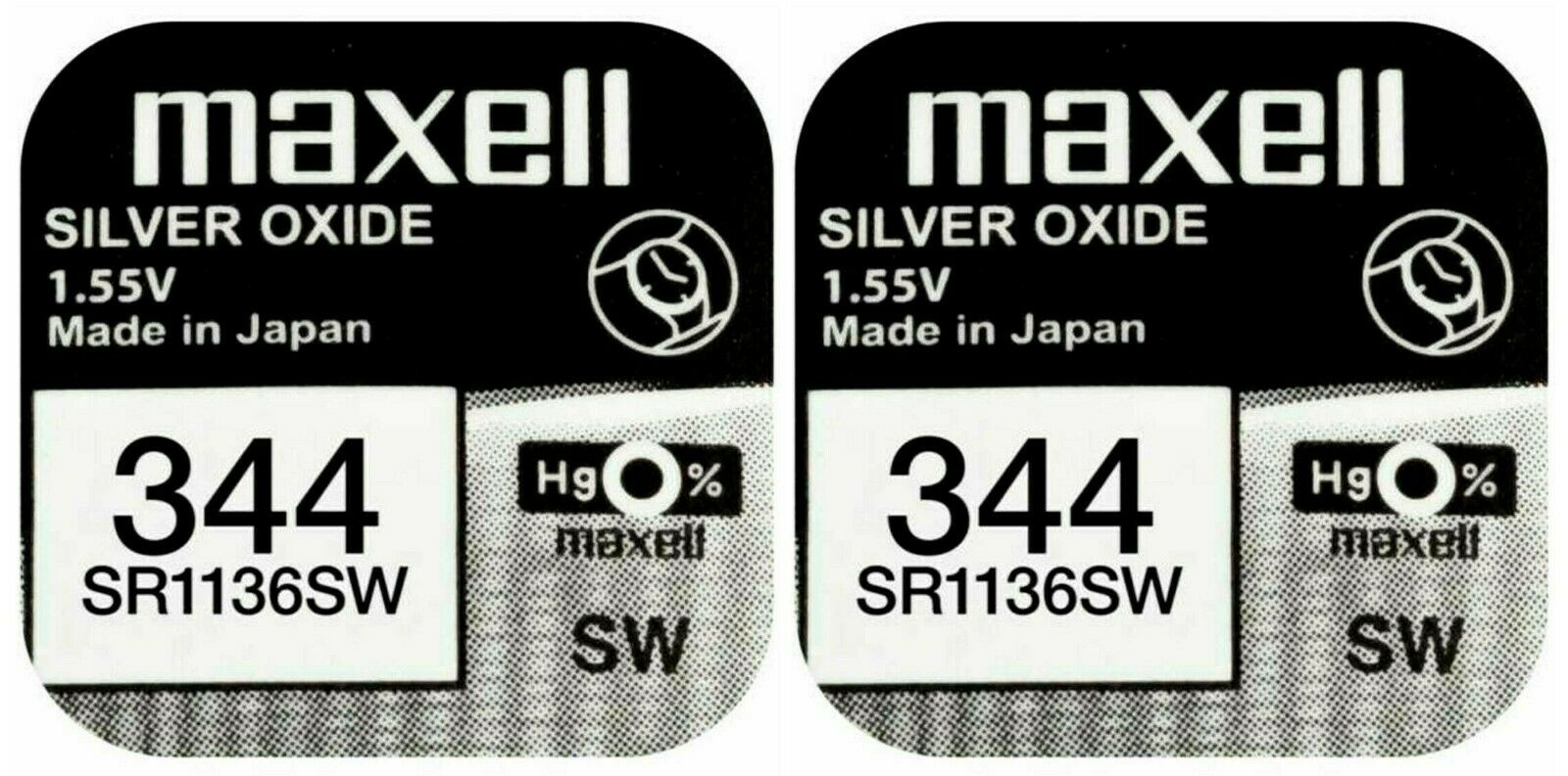 2 X Maxell 344 Stack Battery Clock Mercury Free Silver Oxide sr1136sw 1.55v