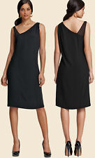 Eileen Fisher Black Asymmetric Neckline Silk Georgette Crepe Dress Large L