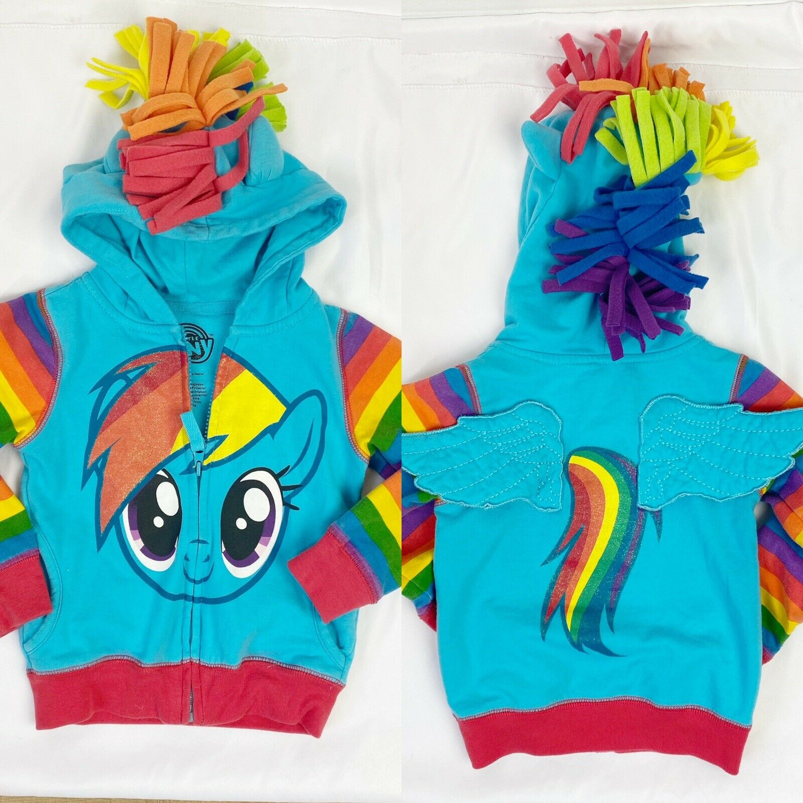 Girls My Little Pony Hoodie Jacket 2T 3T 4T 5 6 7 Rainbow Dash Twilight Sparkle