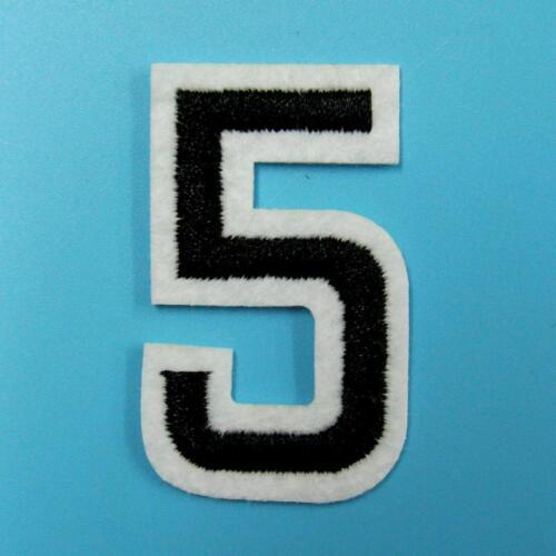 Noir À faire soi-même Numéro 0-9 Iron On Sew Patch Appliqué Brodé Sports scolaires lot.