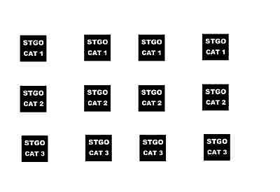# 12 X Stgo Cat 1,2,3 Sign For 1/50 Scale Models Cararama & Hongwell Code 3 Toys & Hobbies