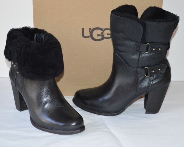 ea267c9b117 Details about New $250 UGG Jayne Black Leather Boot/Booties Short/Ankle sz 7