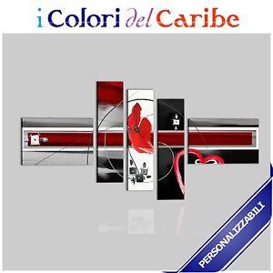 Quadri moderni con fiori dipinti a mano su tela rosso for Quadri moderni fiori dipinti a mano