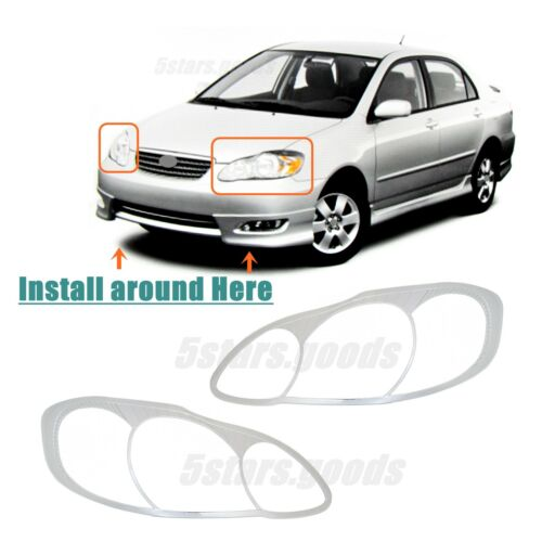 Accessories Chrome Front Headlight Covers Trims For Toyota Corolla 2003-2008