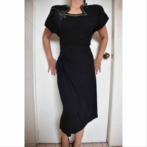 1940s black rayon crepe peplum dress femme fatale