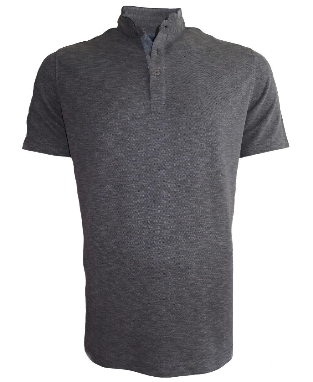 Baileys Stehkragen Kurzarm Shirt Modal dunkelgrey Melangeoptik Gr. M-6XL