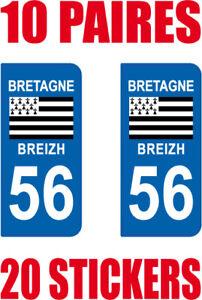 Vente Pas Cher 20 Stickers Autocollant Departement 56 Plaque Immatriculation Des Biens De Chaque Description Sont Disponibles