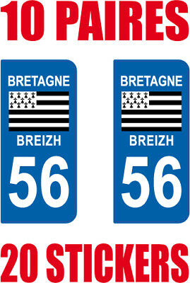 Fornitura 20 Stickers Autocollant Departement 56 Plaque Immatriculation Acquista Sempre Bene