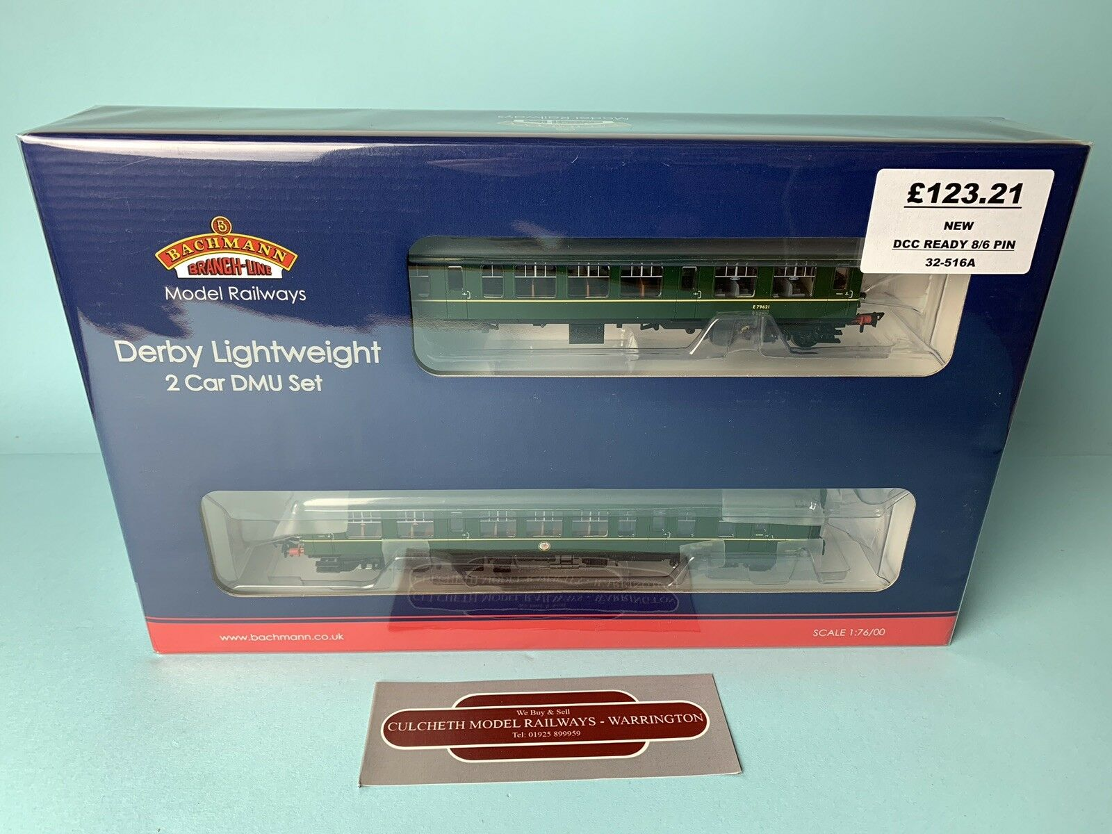 BACHMANN 'OO' 32-516A DERBY LIGHTWEIGHT 2 CAR DMU BR verde WITH SPEED WHISKERS