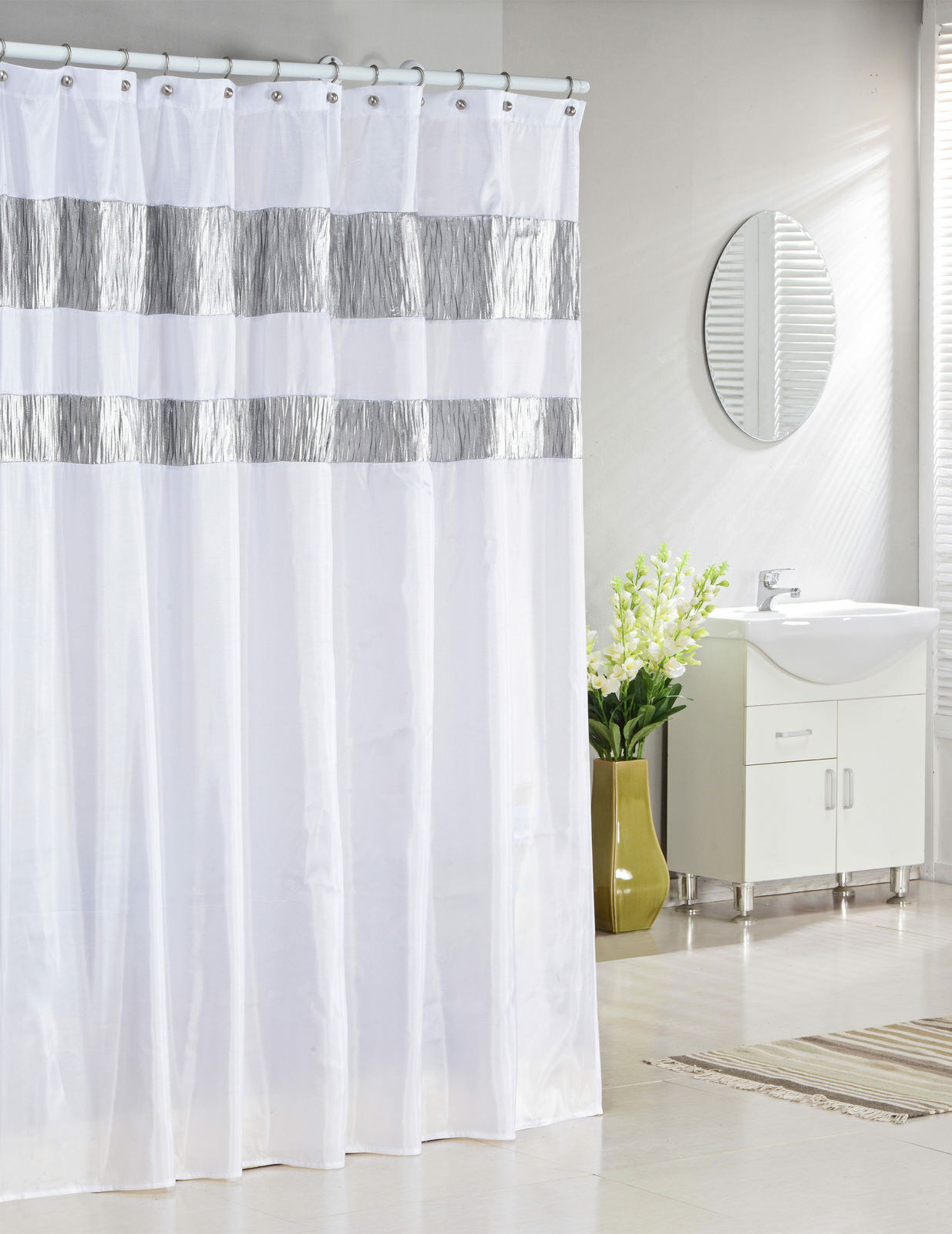 Pure White Fabric Shower Curtain With Silver Metallic Accent Stripes