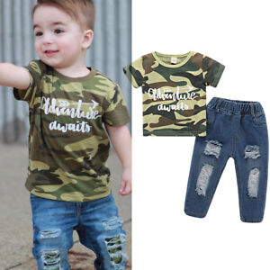 8f2254810 2PCS Toddler Kids Baby Boys Clothes T-shirt Tops+Ripped Jeans Pants ...