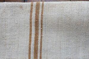Linens & Textiles (pre-1930) Antique European Hemp Grain Sack Gorgeous Rare Caramel Tan Brown Stripes Feed & Flour Sacks