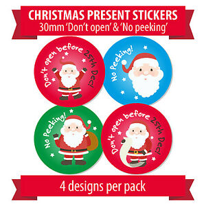 30mm christmas present stickers no peeking don t open before