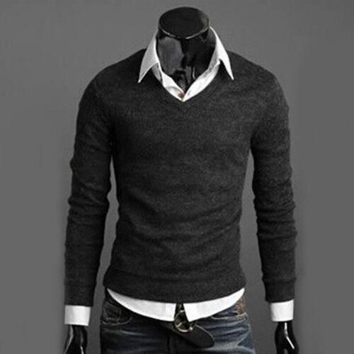 Uomo Casual Pullover Camicia Formale Scollo a V Top Maglione Slim Fit T-Shirt