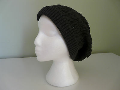 NEW MONSOON ACCESSORIZE LADIES CHARCOAL GREY CABLE KNIT BOHO BEANIE HAT