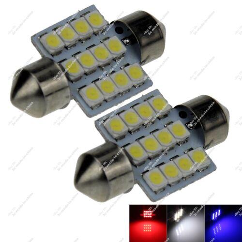 2X Festoon 30MM 31MM DE3425 12 SMD 1210 LED Interior Light Panel Lamp Auto ZI008