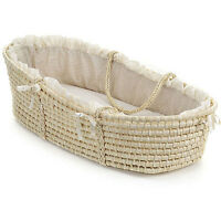 Natural Baby Moses Basket With Ecru Gingham Bedding Sturdy Nursery Accessories