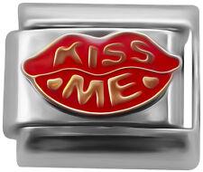 Kiss me lips Italian charm - 9mm classic link   (Q34)