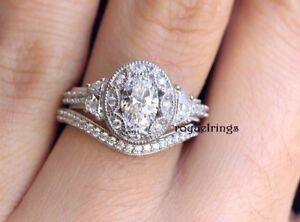 Image Is Loading 2 50ct Vintage Art Deco Oval Diamond Engagement