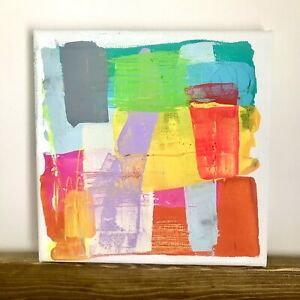 """Original Abstract Cubism Acrylic Bright Painting  Canvas 8 x 8"""" Signed Fine Art"""