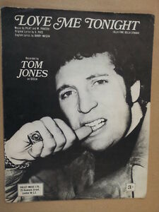 à Condition De Fiche Chanson Love Me Tonight Tom Jones 1969-afficher Le Titre D'origine Excellent Effet De Coussin