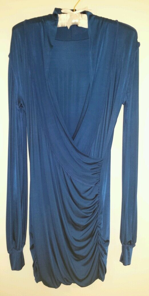 SAVEE COUTURE ROYAL blueE DRAPERY WRAP RUCHED DRESS - Sz M, Orig  187, Pre-owned