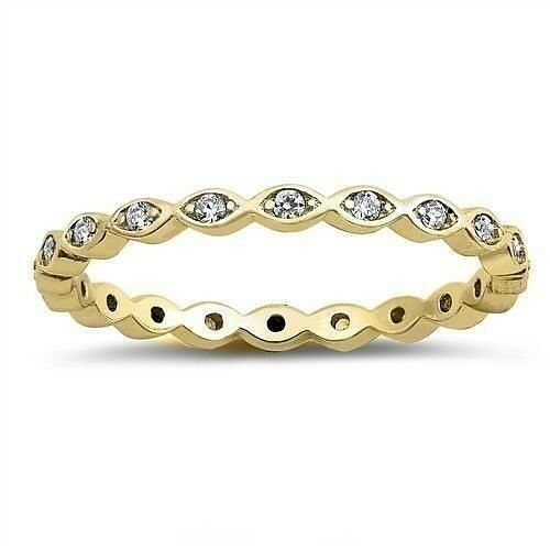 USA vendeur Mince Eternity Band Ring Or Jaune Plaqué Argent Sterling 925 Taille 8