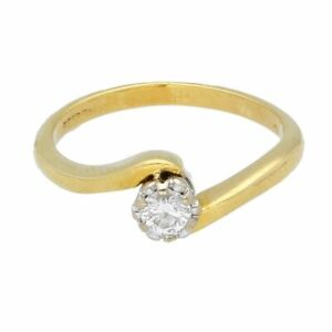 18Carat Yellow Gold 0.15ct Diamond Crossover Solitaire Ring (Size I) 4mm Head