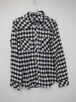 Boohoo Checked Button Through Shirt - Mens Large - White + Black -