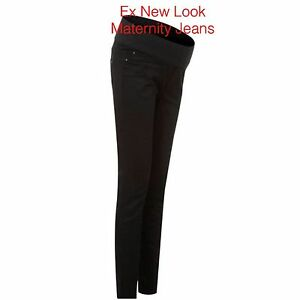 Maternity-JEANS-BLACK-ex-NEW-LOOK-Skinny-Jeans-Under-The-Bump-8-10-12-14-1618