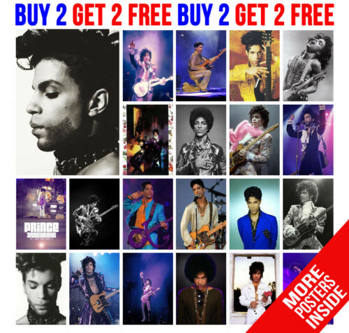 BUY 2 GET ANY 2 FREE PRINCE POSTERS PURPLE RAIN ROCK POP STAR  A4 A3 SIZE