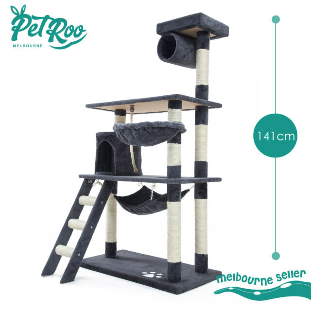 Cat Tree Scratching Post Scratcher Pole Gym House Furniture Multi Level 141cm GY