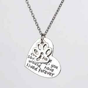 Silver-Dog-Cat-Heart-Paw-Necklace-If-Love-Could-Have-Saved-you-Memory-Pet-Loss